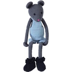 Leggybuddy Crocheted Mouse Stuffed Animal ($175) ❤ liked on Polyvore featuring blue and kids accessories toys