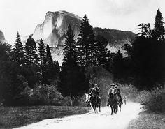 Theodore Roosevelt & John Muir on horseback in Yosemite, CA, 1903