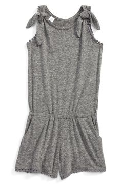 Bobble trim and knotted straps add cheerful finishing touches to this soft and comfy heathered romper.
