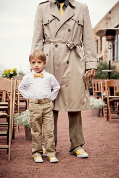 LOVED the ring bearer casual look with a yellow bow tie and converse. Yellow and gray wedding