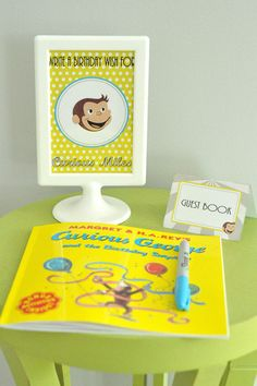 Love this idea for a birthday guest book. I could use a different book every year and then he could have a collection of books with personalized messages.