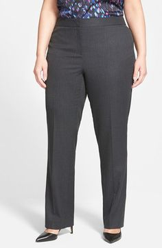 Sejour Herringbone Suit Pants (Plus Size) available at #Nordstrom