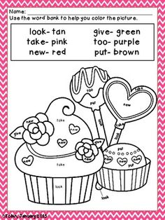 Free Valentines Day  color by number for prek and kindergarten