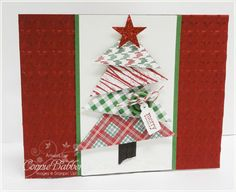 """4 squares of Frostwood Lodge Designer Paper, then cut them in half diagonally.  They are sizes of 2"""", 1 3/4"""", 1 1/2"""" and 1 1/4"""".  You will get TWO trees from one square."""
