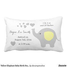 Yellow Elephant Baby Birth Stats Announcement Boy Lumbar Pillow