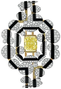 Morning in Vendôme #Bracelet from #CafeSociety - #Chanel - #FineJewelry collection in 18K white gold set with a 6.1 carat #EmeraldCut - #YellowDiamond, 106 #BrilliantCut yellow #Diamonds (1.3 cts), 547 brilliant cut diamonds (8.6 cts) and carved #Onyx - July 2014