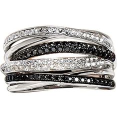 Effy Collection Black And White Diamond Ring In14 Kt. White Gold
