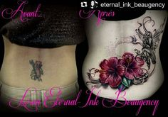 before and after cover-up tattoo by @eternal_ink_beaugency