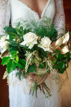 Greenery and white rose wedding bouquet with gold painted ferns   Jason Soon Photography