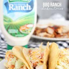 BBQ Ranch Chicken Tacos - with delicious homemade taco shells! Chicken Ranch Tacos, Baked Ranch Chicken, Ranch Chicken Recipes, Chicken Burritos, Chicken Meals, Bbq Chicken, Quesadillas, Enchiladas, Uncooked Tortillas