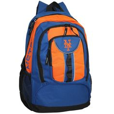 "The New York Mets bring this amazing Colossus backpack, made from heavy polyester with reflective nylon trim, spacious zippered interior, inner laptop pouch (16""x11""), zippered outer pocket, mesh side pouches, adjustable back straps, and team logos printed and embroidered on the top and back. Officially licensed by the MLB. Height: 23 inches Width: 14 inches Depth: 7 inches"
