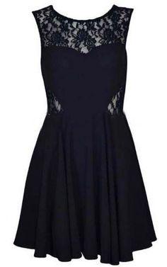 Black Round Neck Sleeveless Lace Chiffon Dress