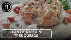 Pan de ajo y tres quesos, una receta de picoteo para compartir Canapes, Queso, Tapas, Banana Bread, Mashed Potatoes, Ethnic Recipes, Desserts, Food, Barbie