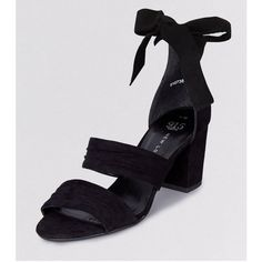 New Look Teens Black Suedette Tie Up Ankle Strap Heels (£23) ❤ liked on Polyvore featuring shoes, pumps, black, ankle strap pumps, black strappy shoes, black shoes, black ankle strap pumps and black high heel shoes