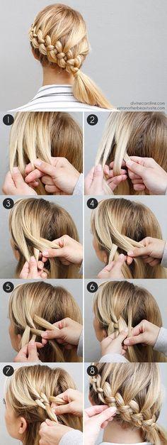 flechtfrisuren selber machen mittellange blonde haare flechten If you liked this pin, click now for more details. New Braided Hairstyles, Diy Hairstyles, Hairstyle Tutorials, Holiday Hairstyles, Hairstyle Ideas, Wedding Hairstyles, Summer Hairstyles, Hairstyle Braid, Latest Hairstyles