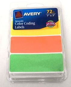 avery rectangular color coding labels 1 x 3 inches lot green orange yellow - Avery Colored Labels