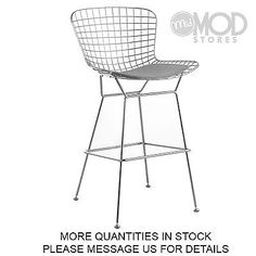 Our Gould Wire stool is exceptionally strong and surprisingly comfortable with its unique bent and welded steel rod construction. The seat pad is available in black, gray, white and red.