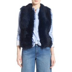 Olivia Palermo + Cheasea28 Genuine Shearling Peplum Vest ($160) ❤ liked on Polyvore featuring outerwear, vests, shearling vest, vest waistcoat, blue vest, sheep fur vest and peplum vest