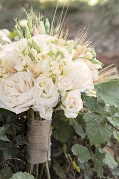 gorgeous bridal bouquet with wheat,  floral design by Le Petit Jardin, Madison, GA