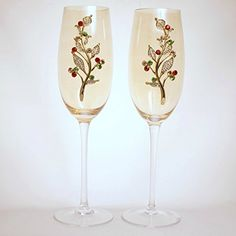 Unique Jewelry on Gold Champagne Glasses with Christmas Red, Green and Gold Rhinestones (Set of 2) -- You can find out more details at the link of the image.