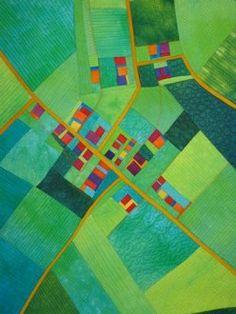 The Fields Below. Map quilt by Alicia Merrett