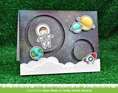 Lawn Fawn - Out of this World, Puffy Cloud Borders, Slide on Over Circles _ double circle slider card by Kelly for Lawn Fawn Design Team