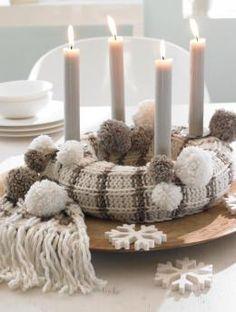 Creative Christmas decoration - DIY Advent wreath ideas %%page%% Christmas Advent Wreath, Noel Christmas, Christmas Crafts, Christmas Decorations, Advent Wreaths, Diy Knitting Scarf, Advent Candles, Navidad Diy, Ideas Navidad