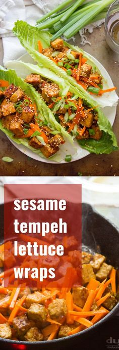 Crunchy romaine leaves are stuffed with pan-fried tempeh cubes in a savory sesame ginger sauce to make these healthy Asian-inspired vegan lettuce wraps. #vegan #veganfood #veganrecipes #vegetarian #vegetarianrecipes #meatlessmonday #tempeh #healthyrecipes #glutenfree