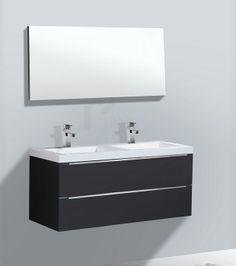 € 1.025,- Lambini Designs Senza Badmeubel - Hoogglans antraciet - 2 kraangaten - 120cm (B) - 47cm (D) incl. spiegel. ook leverbaar in hoogglans wit #badmeubel #badkamer #luxe #greep