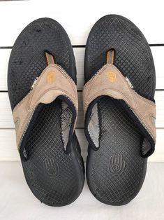 8d3b695f7 Details about Teva SN 6676 Men Tan Leather Mens US 10 Thong Comfort. Flip  Flop ...