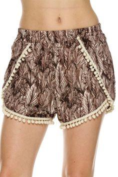 Trendy Solid & Mix Print Shorts W/ Pom Pom Trim - BodiLove | 30% Off First Order  - 45