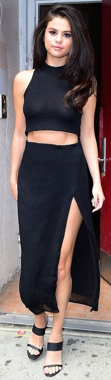 Who Made Selena Gomez S Black Wrap Maxi Skirt And Crop
