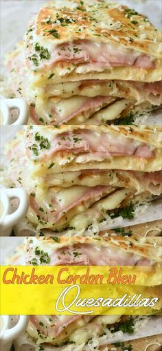 Amazing Chicken Cordon Bleu Quesadillas & Amanda Kitchen The post Amazing Chicken Cordon Bleu Quesadillas I Love Food, Good Food, Yummy Food, Cooking Recipes, Healthy Recipes, Uk Recipes, Skillet Recipes, Cooking Tools, Chicken Cordon Bleu