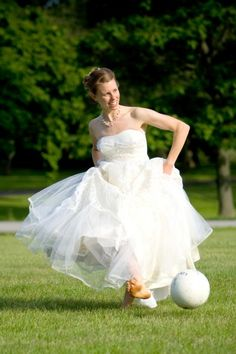 This would def be me on my wedding day with my future husband who loves soccer as much as I do =)
