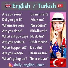 English Words, English Lessons, English Grammar, Learn English, Learn Turkish Language, Learn A New Language, Language Quotes, Language Lessons, Turkish Lessons