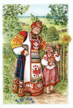 cute dress on little girl Más Russian Folk, Russian Art, Russian Style, Russian Ladies, Pictures To Paint, Cute Pictures, Folk Costume, Costumes, Creation Photo