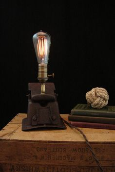 Upcycled Rusty Furnace Vent Edison Filament Bulb Lamp.  Etsy.