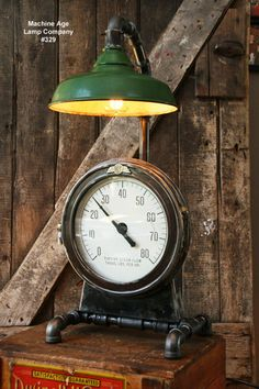 steampunk industrial lamp steam gauge 329