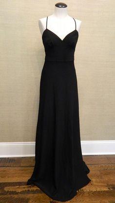 b9d7c38603e JCrew  218 Aubrey long dress drapey matte crepe 4 black formal party. J  Crew Bridesmaid ...