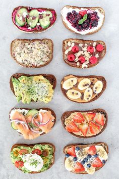 10 healthy and easy toast creations from avocado to New York style, made with simple mouthwatering ingredients, perfect for breakfast, lunch and even dinner! recipes healthy dinner easy Toast Ten Ways Healthy Drinks, Healthy Eating, Eating Clean, Healthy Meals, Healthy Nutrition, Desayunos Healthy, Delicious Healthy Food, Healthy Fridge, Healthy Cafe