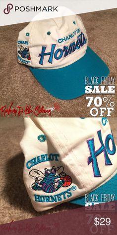 Vintage retro official Charlotte Hornets hat ☠ OFFICIAL VINTAGE RETRO  CHARLOTTE HORNETS SNAPBACK ADJUSTABLE 8c368633af57