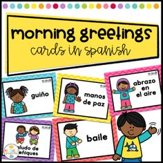 Getting your room ready for school? Check these greeting visuals are great for your morning routines.Now your students can choose their morning greetings with this fun set of greeting visuals. This document includes:30 greeting cards for your classroom - 5 X 7.5 inches and 4.93 X 3.7 inchesSaludos e...