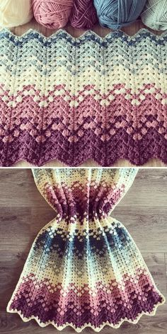 Modern Crochet Blanket, Crochet Ripple Blanket, Crochet Stitches For Blankets, Granny Square Crochet Pattern, Crochet Stitches Patterns, Afghan Patterns, Crochet Crafts, Crochet Yarn, Crochet Projects