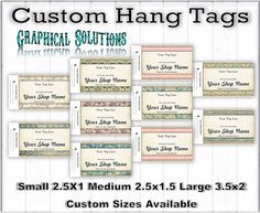 Custom hang tags 100=$18.99 500=$89.98 1000=$165.99 $2.99 first class shipping $5.99 priority mail shipping Www.etsy.com / shop / graphicalsolutions #etsy #ebay #trunckshows #facebooksales #craftsales #etsyteams #smallbuisnesses #hangtags #logomaker #graphisdesign #weekend #boothsale #boutique #boutiqueshop
