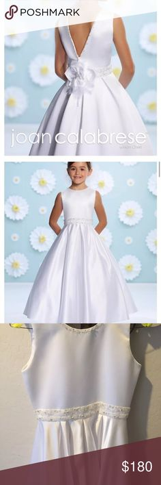 Joan Calabrese White Flower Girl Communion Dress This was used once as a flower girl dress.   Sleeve satin tea length A-line dress, hand b adding trims jewel neckline and deep V-back, beaded natural waist, back has large flower with center beading box pleated full skirt. White  Retails for over $250 at Nordstrom Social Occasions by Mon Cheri Dresses Formal
