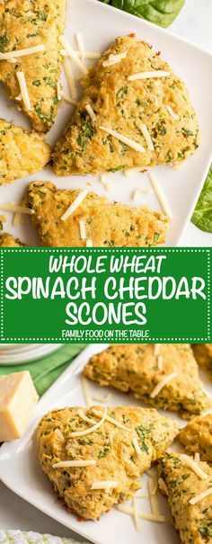 Whole wheat spinach cheddar scones are fluffy, tender and easy to make. They're loaded with spinach and cheddar cheese for a savory breakfast or brunch recipe that everyone loves! #brunchrecipes #scones | www.familyfoodonthetable.com