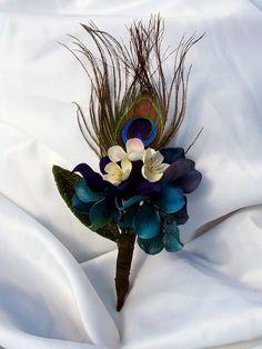 Hydrangea & Peacock Boutineer by ViktoryDesigns on Etsy, $15.00