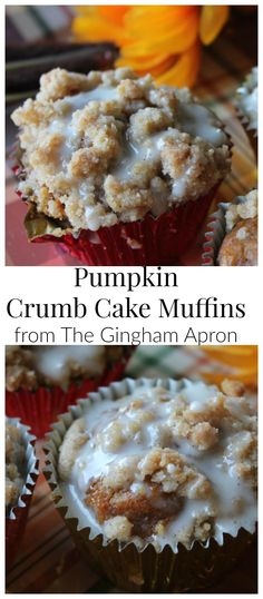 Pumpkin Crumb Cake Muffins- delicious pumpkin muffins with cinnamon and maple flavors. #pumpkin #fall #maple