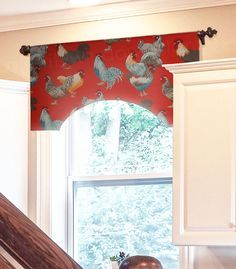 P Kaufmann Free Range Parisian Kitchen Valance   A Deep Red Rooster Toile  Custom Valance Installed Over A Sink