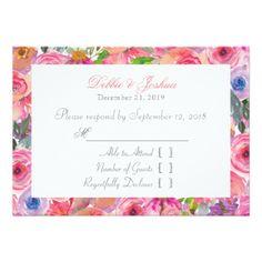 #Spring Flower Pink Floral Lace Wedding RSVP Card - #rsvp #cards épondez s'il vous plaît
